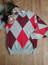 Retro jumper by Lyle & Scott size M Diamond Cotton Red Grey ,Mint condition