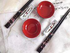 2 SET JAPANESE BLACK BLOSSOM CHOPSTICKS STAND RED DIP SAUCE PLATE CHINESE B10