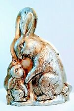 """Primitive Style Easter Faux Bunny Rabbit & Baby Mold Figurine Tabletop Decor 10"""""""