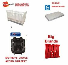 MOTHER'S CHOICE AVORO CAR SEAT & PIONEER COT CRIB BED WHITE MATTRESS PACKAGE AU