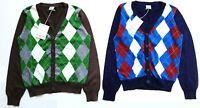 POLARN O.PYRET Boys Cardigan Knit Argyle Knitted Xmas Jumper Boy 8-10 Argyll £25