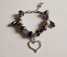 Adjustable European BEADED BRACELET Purple With HEART charm FREE GIFT BAG