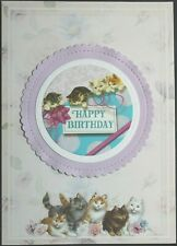 Set of 6 Cards, Handcrafted Flowers Cats Birthday Special Day Every Good Gift