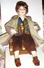 """20"""" Porcelain Tuss Little Companion QUENTIN Doll with Suitcase by Wm. Tung"""