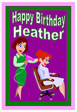 HAIRDRESSER - FUN BIRTHDAY CARD PERSONALISED - ANY NAME -  BRAND NEW