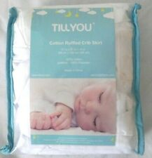 New - Tillyou White Crib Skirt Dust Ruffle 100% Natural Cotton Nursery Crib