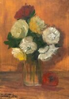 Original oil painting art floral vintage style shabby chic a vase of flowers