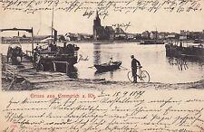 Gruss aus Emmerich AK 1899 Rheinpartie mit Passanten Nordrhein-Westfalen 1704029