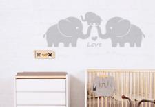 Cute Elephant Family Wall Decals Baby Nursery Decor Kids Room Wall Stickers Grey