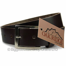 """NEW Quality MENS Thick Brown LEATHER BELT 1.3"""" Wide by Oakridge Sizes up to 49"""""""