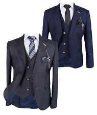 Page Boy Wedding Tailored fit Herringbone Patterned Charcoal Grey Navy Blue Suit