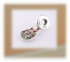 Authentic Pandora SILVER Charm Bead 796362ENMX Holiday Wreath Dangle Christmas