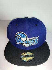 Men's New Era MILB Wilmington Waves Royal Blue Fitted Baseball Cap Hat NWT 7 1/4
