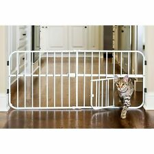 Pet Gates Extra Wide Gate With Door For Stair Dogs Adjustable Durable Convenient