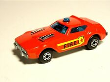 Vintage Lesney Matchbox Superfast Red Fire Chief Car with Outlined Shield Labels