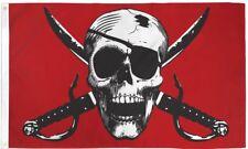 Crimson Pirate 3x5ft Poly Flag - Jolly Roger - Skull - Boating - Pirate Flag