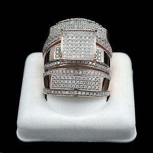 Round Simulated Engagement Bridal Wedding Ring Trio Set 1.34Ct 9k Rose Gold Over