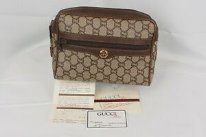 【Rank C】GUCCI Vintage Plus Pouch Clutch Shoulder Bag GG Pattern PVC Brown Japan