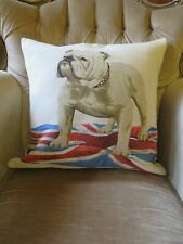 PATRIOTIC UNION JACK CHURCHILL BRITISH BULLDOG TAPESTRY DOG CUSHION COVER ONLY