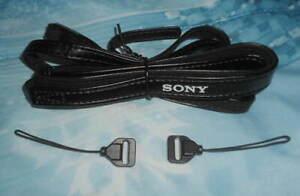 OEM Fit Most SONY Cybershot Digital Camera Leather Neck Strap & 2 Mini Adapters