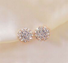 New Fashion Womens Lady Elegant circle Crystal Rhinestone Ear Stud Earrings Gift
