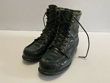 Vintage Womens Leather Combat Boots Dark Green Size 6 Military Trail Hiking