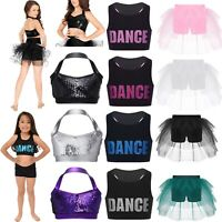 Kids Girls Dance Outfit Jazz Ballet Sequins Bra Crop Top+Skirt Dancewear Costume