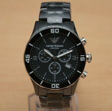 BRAND NEW ARMANI MENS CERAMIC GENTS CHRONOGRAPH WATCH AR1421 GENTS BLACK DIAL