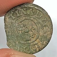 Authentic Late Medieval European Copper Coin Middle Ages Artifact Relic Old G16