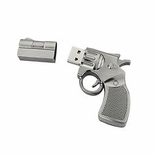 1PC 32GB Silver Metal Gun Shape USB2.0 Flash Memory Stick Thumb Pen Drive U Disk