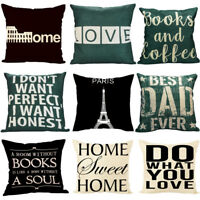 Vintage Linen Cotton Cushion Cover Waist Throw Pillow Case Home Bed Sofa Decor