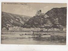St Goarshausen & Burg Katz Germany Vintage Postcard 367b