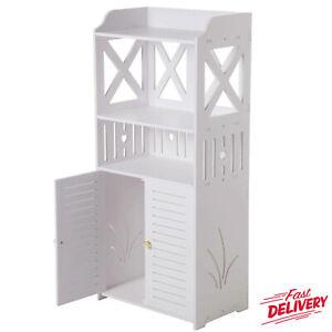 White Wooden Bathroom 3 Tier 2 Doors Cabinet Shelf Cupboard Bedroom Storage UK