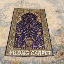 Yilong 2.5'x4' Hand Knotted Silk Carpet Tree Of Life Oriental Area Rug 353B