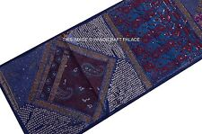 """60"""" INDIAN BLUE BEADED TAPESTRY WALL HANGING THROW SEQUINS Embroidery Decotative"""
