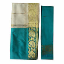 Sari indiano turchese beige broccato abito tradizionale Bindi donna poliestere