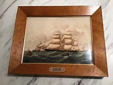 "Vintage Wedgwood Framed Plaque Mint ""Hurricane� Clipper Ship"