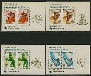 Korea B43a-6a MNH Summer Olympics, Tennis, Equestrian Horse, Diving