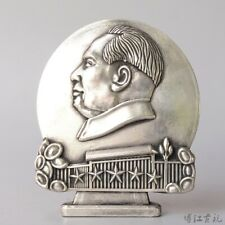 Peach Wood Carving Pendant with Tassels Chairman Mao Zedong Profile Amulet Decor