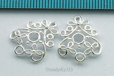 2x BRIGHT STERLING SILVER FLOWER CHANDELIER CONNECTOR EARRINGS BEAD N313
