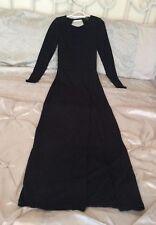 TOPSHOP Black evening maxi dress w/ thigh split long sleeve keyhole size 6 BNWOT