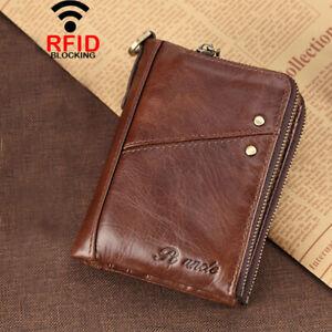 Men's Zipper Wallet RFID Blocking Card Holder Coin Purse 100% Cowhide Leather
