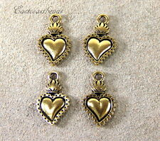 Heart Milagro Charms, TierraCast Charms, Antiqued Gold Plated, 4 Pieces