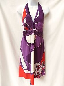 $268 Anthropologie BETH BOWLEY Womens Purple Red White Retro Mod Silk Dress 4 S