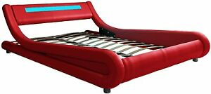 Contemporary Wave-Like Curve Upholstered Platform Bed with LED Lights Headboard