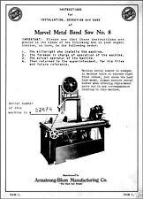 Marvel Metal Band Saw No 8 Operator Maintenance Manual