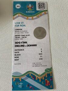 Euro 2020 England V Denmark Semi Final Souvenir Ticket Stub