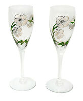 Perrier-Jouët Set of 2 Vintage Hand Painted Flower Crystal Champagne Flutes 7.5""