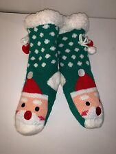 CAT & JACK Girls' Slipper Socks in GREEN/WHITE DOT SANTA Faux Fur Lining Md NWOT
