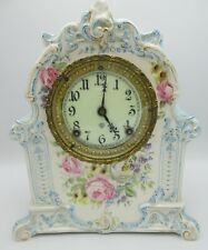 Antique Royal Bonn La Mosella Ansonia Porcelain Shelf Mantel Clock Vintage 1890s